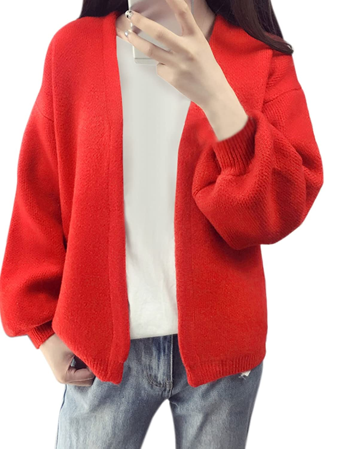 uxcell Women V Neck Batwing Sleeves Hook Eye Closure Knit Cardigan