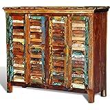 vidaXL Antik Vintage Massivholz Kommode Sideboard Schrank 4 Türen
