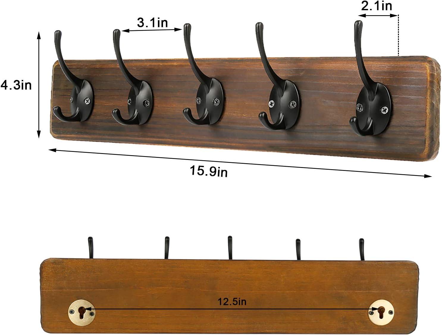PHINGEER Rustic Wooden Wall Mounted Coat Rack Heavy Duty Hanging Coat Rack with 5 Decorative Hooks for Entryway Mudroom Kitchen Bathroom Living Room Foyer Hallway