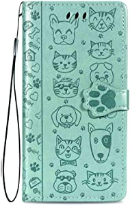 """Compatible with iPhone SE 2020 Case,iPhone 8/7 Case,Kickstand Feature Luxury PU Leather Flip Folio Cover with [Card Slots] [Wrist Strap] for Apple iPhone 8 2017/7 2016 (5.5""""),Green"""