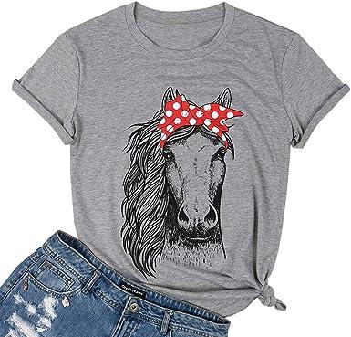 Amazon.com: UNIQUEONE Camisas de caballo para mujeres adolescentes ...