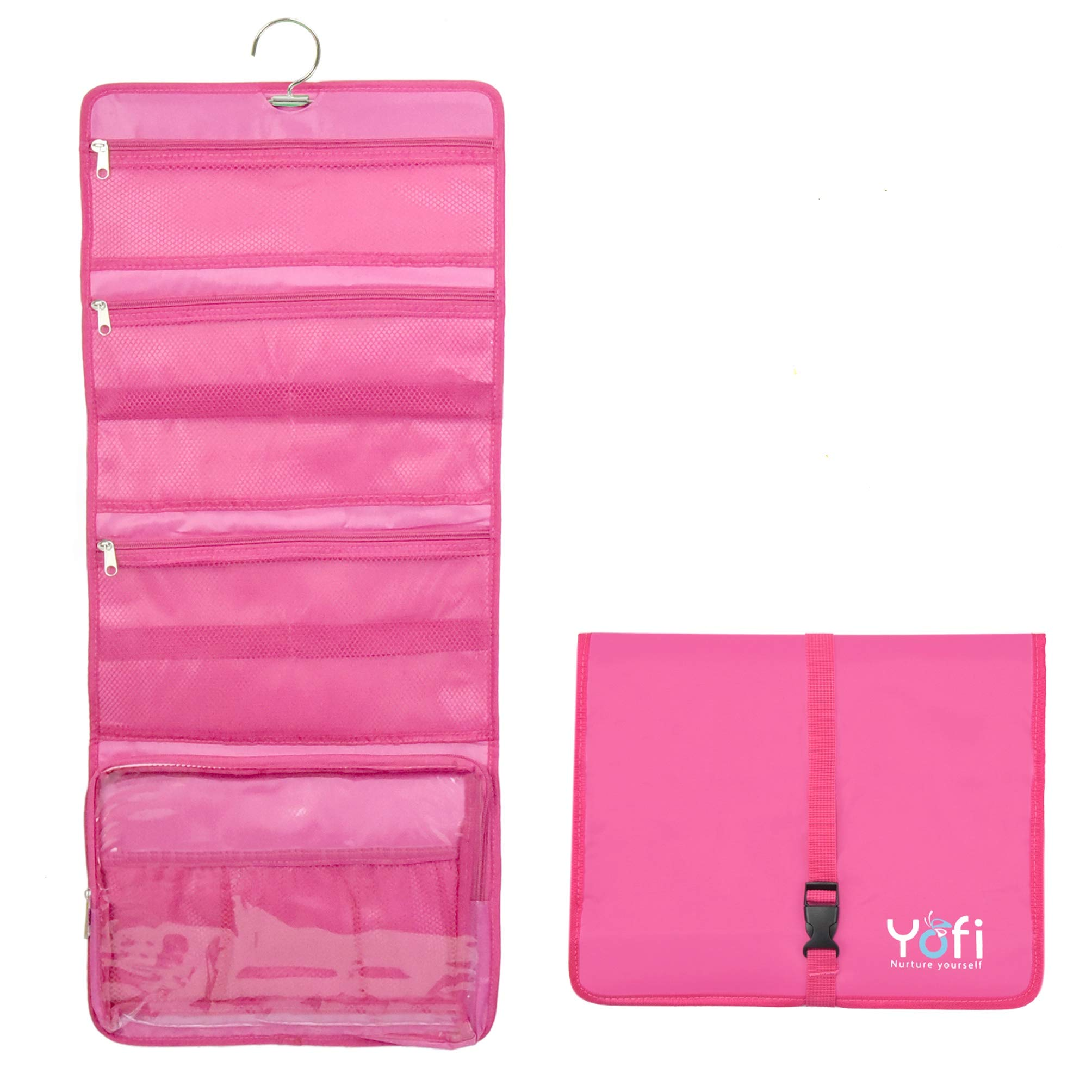 Hanging Toiletry Bag by Yofi Nurture Yourself: Organizer for Cosmetics, Makeup, Jewelry, Toiletries, Shaving Tools in Pink Expandable, Polyester Case with Zippers and Sections for Home or Traveling