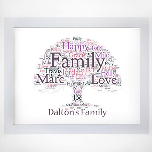 a4 size personalised family tree word art print keepsake gift in any