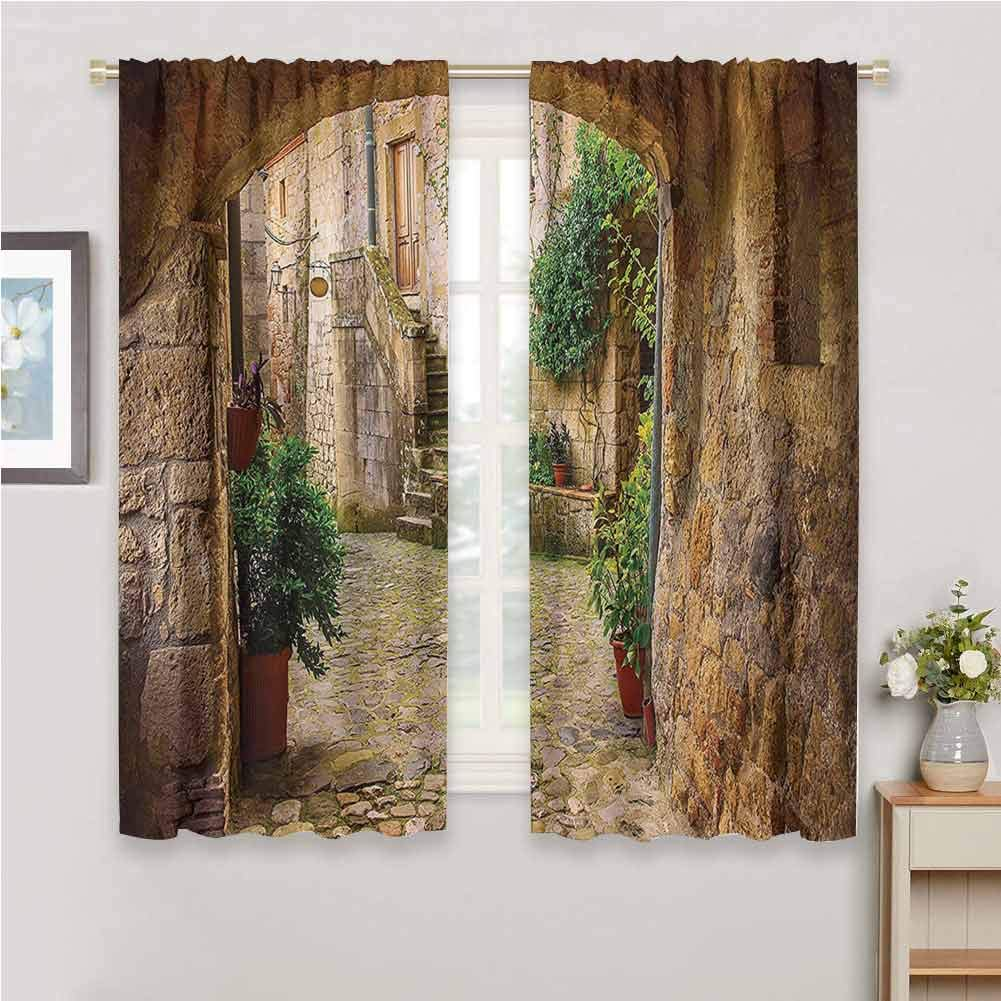 GUUVOR Scenery Decor Blackout Curtain Set Landscape from Another Door Antique Stone Village Tuscany Italian Valley Kindergarten Shading Insulation W84 x L84 Inch Multicolor by GUUVOR