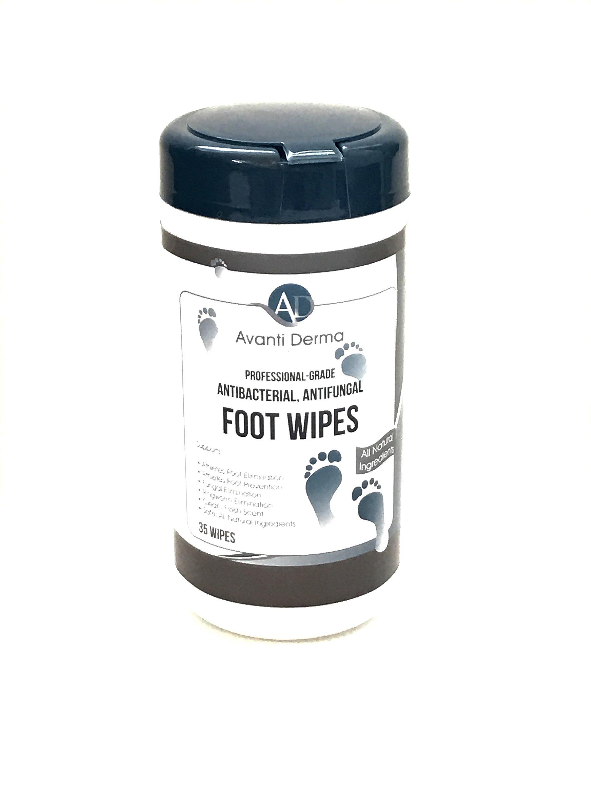 Avanti Derma Professional-Grade Antibacterial, Antifungal Foot Wipes