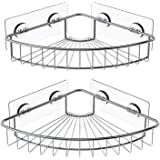 SMARTAKE 2-Pack Corner Shower Caddy, SUS304 Stainless Steel, Wall Mounted Bathroom Shelf with Adhesive, Storage Organizer for