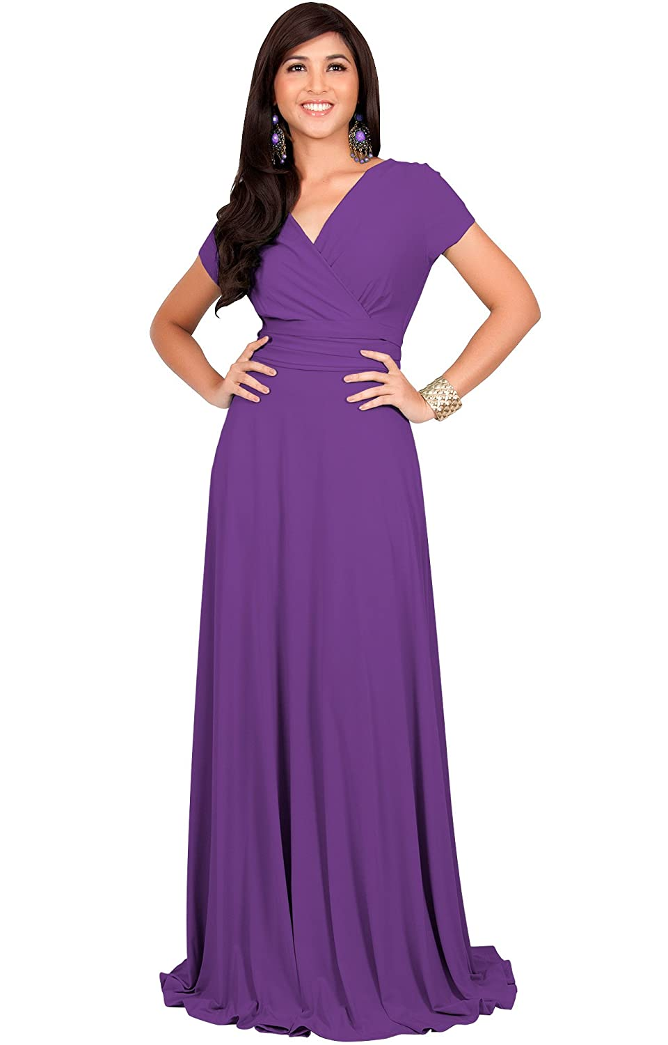 4924471aec4a Koh Koh Womens Long Sexy Cap Short Sleeve V-Neck Flowy Cocktail Gown Maxi  Dress - Purple - X-Large  Amazon.co.uk  Clothing