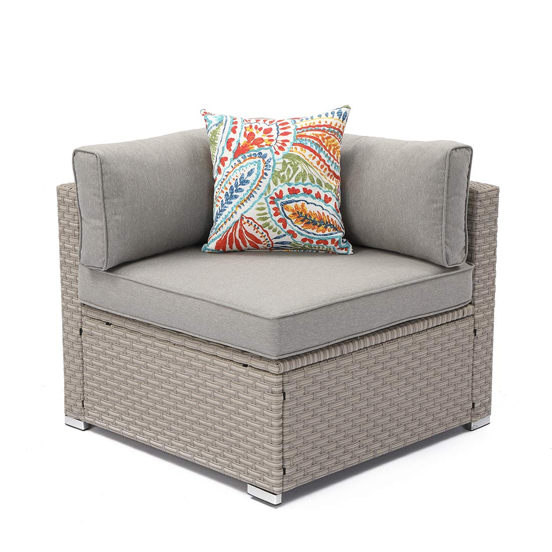 COSIEST Outdoor Furniture Add-on Right Corner Chair for Expanding Wicker Sectional Sofa Set w Warm Gray Thick Cushions, 1 Floral Fantasy Pillow for Garden, Pool, Backyard