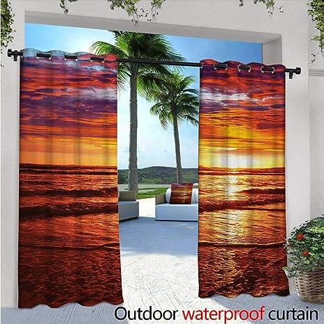 Beau BlountDecor Hawaiian Patio Curtains W72 X L84 Dramatic Picture Of Sunset  Over Beach SunlightsReflection On Sea