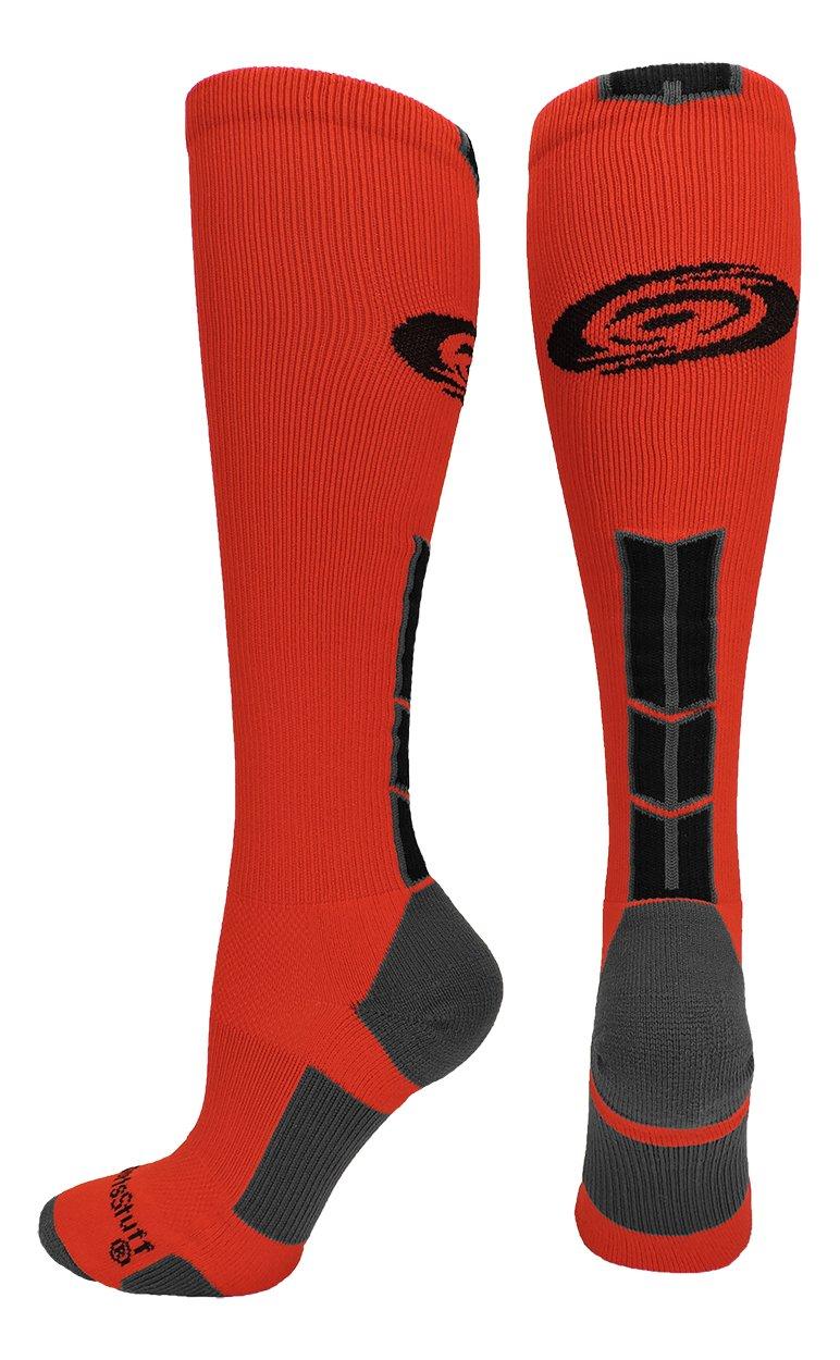 MadSportsStuff Hurricanes Logo Over the Calf Socks (Scarlet/Black/Graphite, Large)