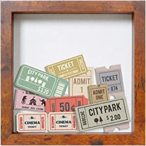 Display Box/Shadow Box Frame Wood deep Depth with Linen Back Easy Hanging, Perfect for Display Photos, Medals, Awards, Tickets (Honey 10x10)