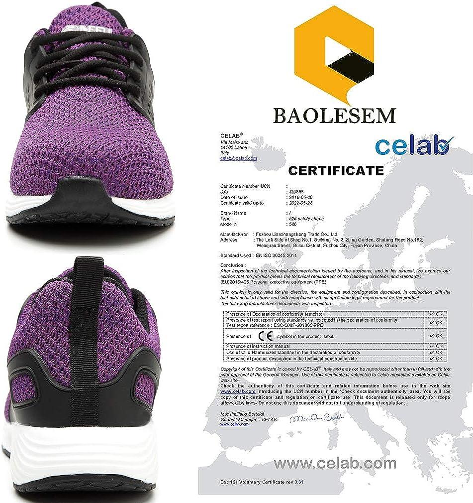 Breathable Safety Indestructible Shoes Lightweight Industrial /& Construction Shoe BAOLESEM Men Women Work Steel Toe Shoes