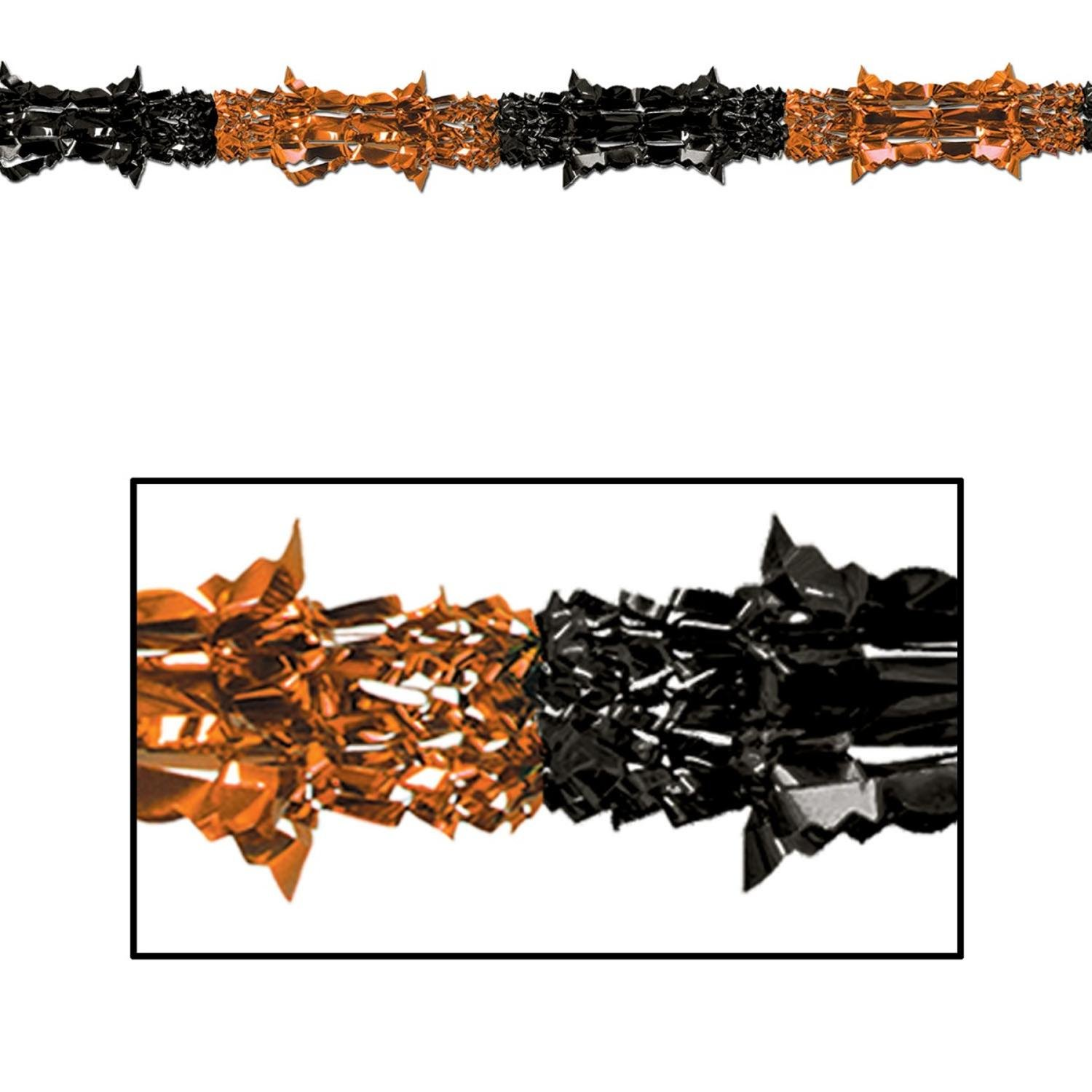 Results 181 240 of 644 for indoor halloween decorations - Amazon Com Club Pack Of 12 Metallic Orange And Black Halloween Garland Party Decorations 9 Unlit Home Kitchen