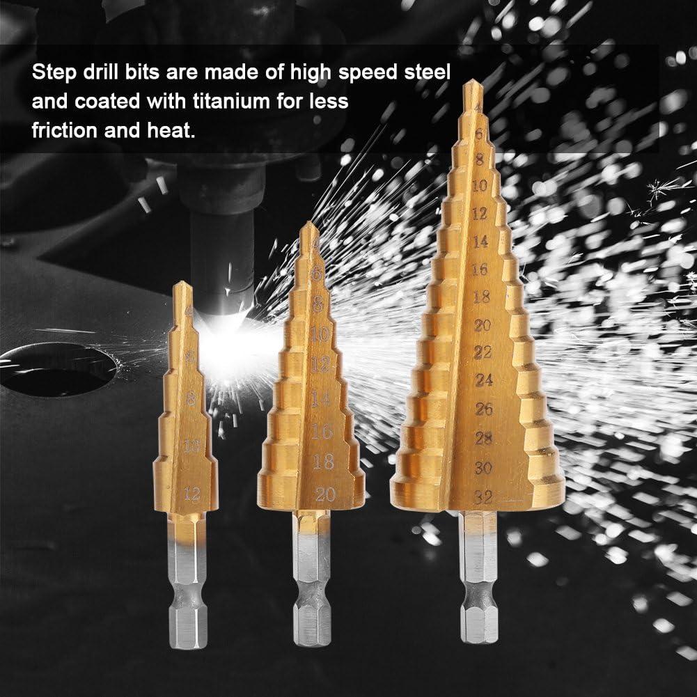 4-12 mm 3 St/ück Stufenbohrer 4-32 mm Qualit/ät ist unsere Kultur 4-20 mm 1 St/ück Messing Automatic Center Punch Set Naroote Stufenbohrer