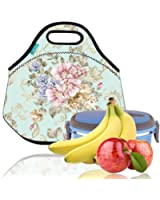 Lunch Tote, OFEILY Lunch boxes Lunch bags with Fine Neoprene Material Waterproof Picnic Lunch Bag Mom Bag (Flower&Light blue)