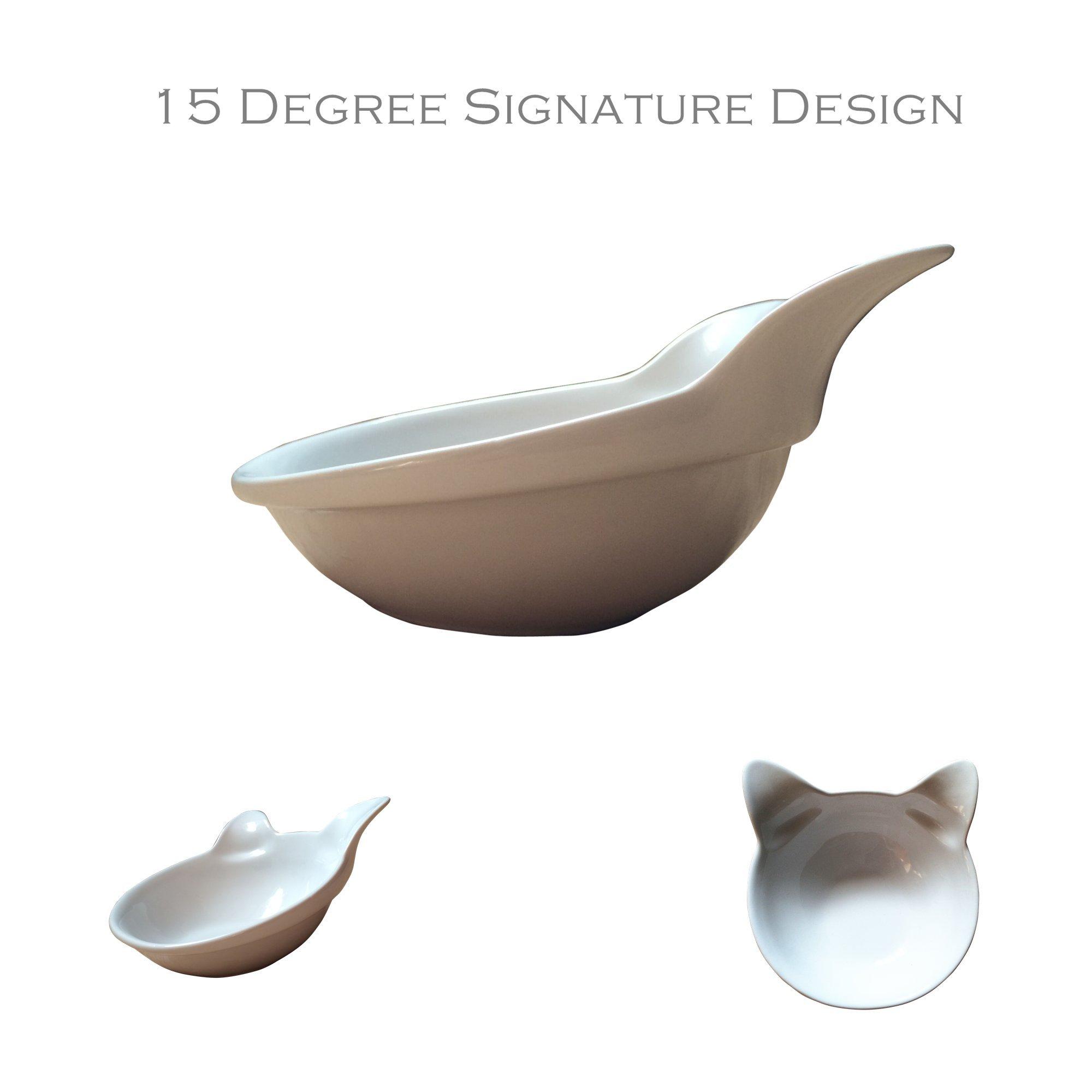 2 Ceramic Kitty Bowls from ViviPet (Pearl White Kitty Bowls)