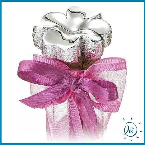 Matrimonio Senza Bomboniere.Portaconfetti Tubo In Vetro Argento Quadrifoglio