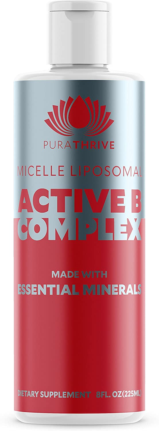 PuraTHRIVE Vitamin B Complex – Micelle Liposomal Active B-Complex 8 oz Liquid by Purathrive. Active-B Contains Nine Essential Minerals Electrolytes to Further Support Wellbeing Performance.