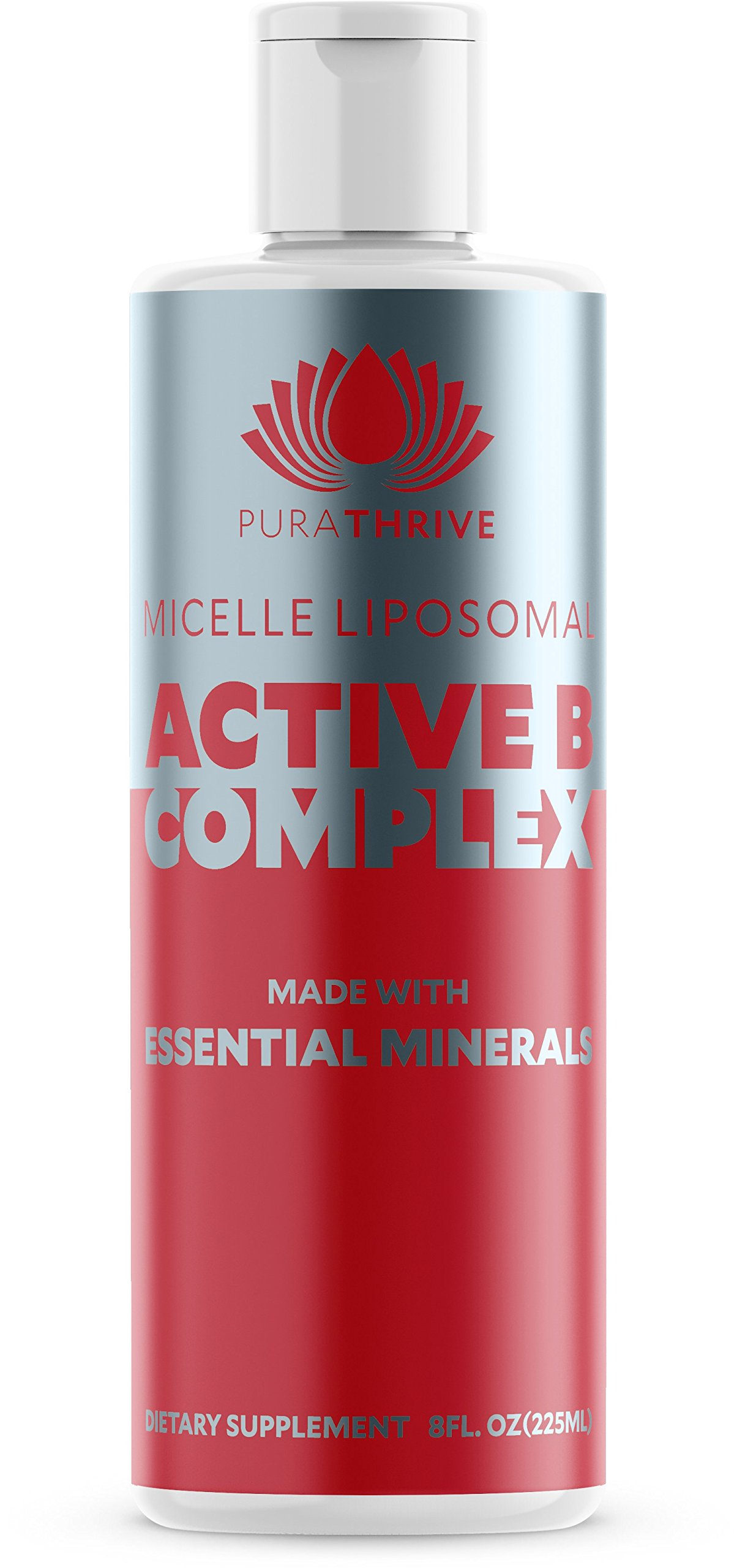 PuraTHRIVE Vitamin B Complex - Micelle Liposomal Active B-Complex 8 oz Liquid by Purathrive. Active-B Contains Nine Essential Minerals & Electrolytes to Further Support Wellbeing & Performance.