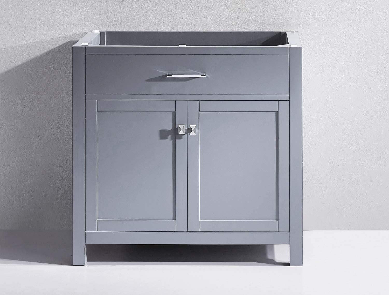 Virtu USA MS-2036-CAB-GR Caroline Bathroom Vanity, 36 inches Cool Gray