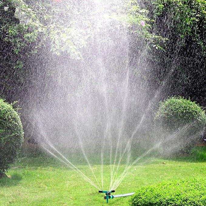 Blisstime aspersor de césped, rociador automático de 360 Grados para jardín, rociador de Agua para césped, Sistema de riego Ajustable de 3 Brazos, diseño a Prueba de Fugas y Base de Pinchos:
