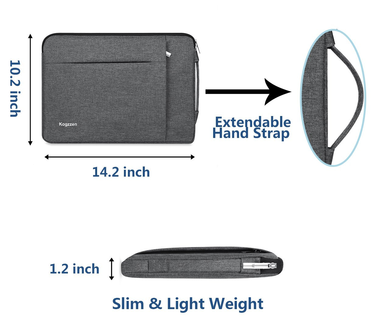 Kogzzen 13-13.5 Inch Laptop Sleeve Shockproof Lightweight Case Carrying Bag Compatible with MacBook Pro 13 inch/MacBook Air 13.3/ Dell XPS 13/ Surface Book 2 13.5/ Surface Laptop/iPad Pro 12.9 - Gray by Kogzzen (Image #4)