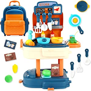SMALL FISH Backpack Toy Pretend Play Kitchen Set for Kids, Toy Kitchen Playset, Kids Kitchen Sets for Girls, Boys, Play Kitchen for Toddlers with Play Kitchen Accessories, Play Food, Pan Cookware Set