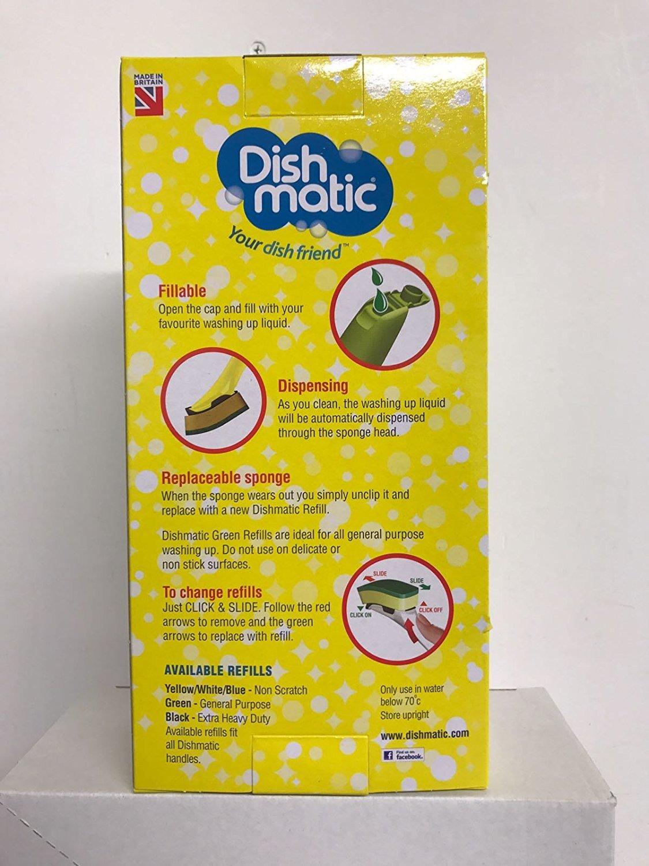 Dishmatic Bonus Pack 1 Fillable Handle and 6 Green Sponge Refills