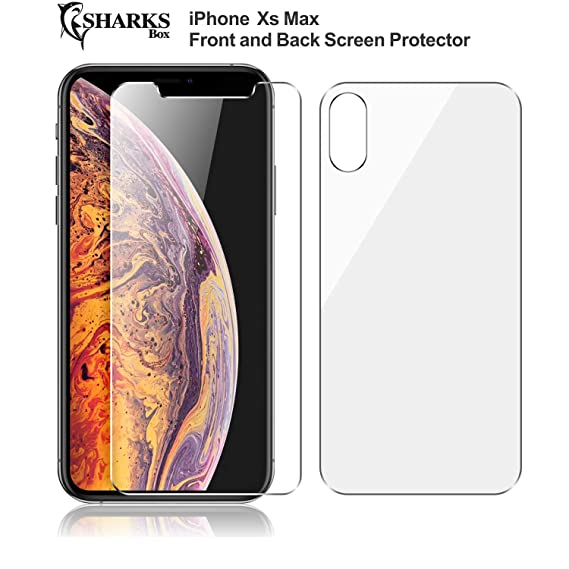 low priced 93c62 cbc7f SHARKSBox iPhone Xs Max Front and Back Screen Protector for Apple iPhone Xs  Max [Lifetime Replacements][Anti-Scratches] Tempered Glass Screen ...