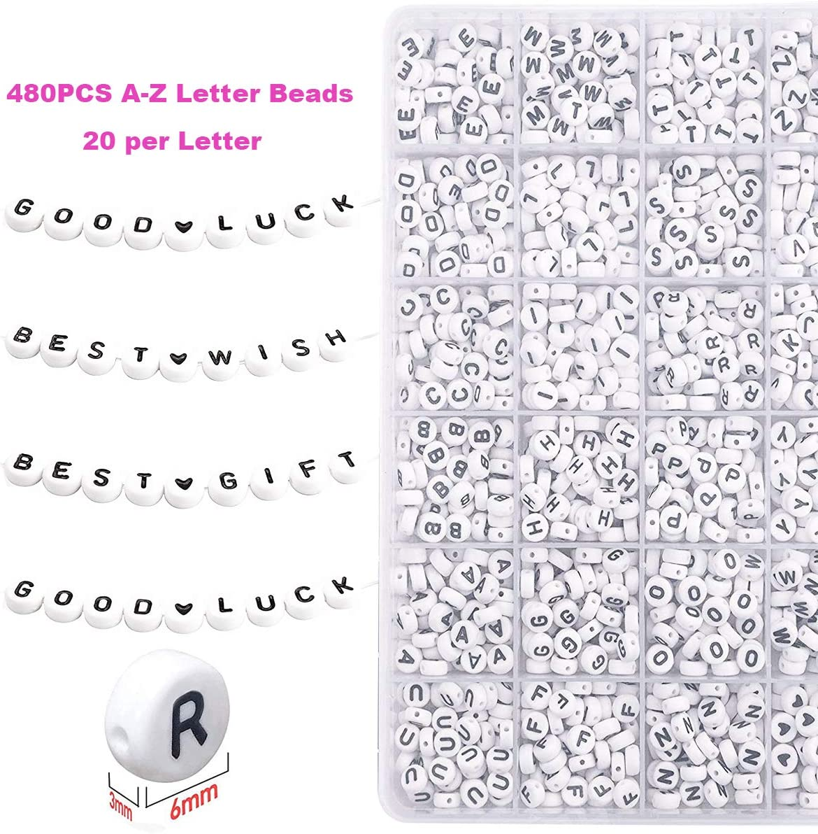 EuTengHao Small Pony Seed Beads Letter Beads Set for Jewelry Bracelets Making with with Two 0.8mm Clear Bracelet String 0.4mm Glass Seed BeadsA-Z Alphabet Letter Beads for Friendship Jewelry Making