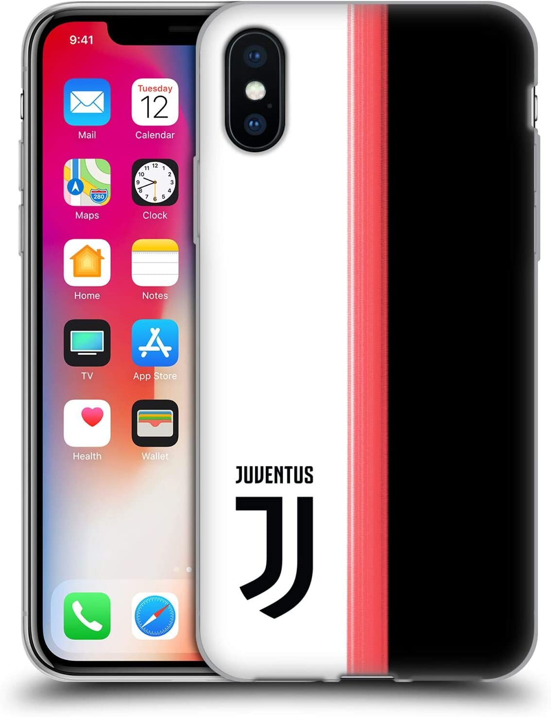 Official Juventus Football Club Home 2019/20 Race Kit Soft Gel Case Compatible for Apple iPhone X/iPhone Xs