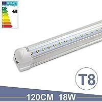 OUBO Tube LED T8 Lampe Lumière Fluorescente 120cm avec Douille 18W 2400lm Blanc Naturel 4000k Couverture transparente pour Parking, garages, bureaux, couloirs ou ateliers etc.