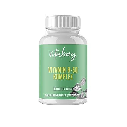 Vitamina B-50-100 tabletas - Complejo de vitamina B de alta dosis - contiene todas las vitaminas B - con PABA