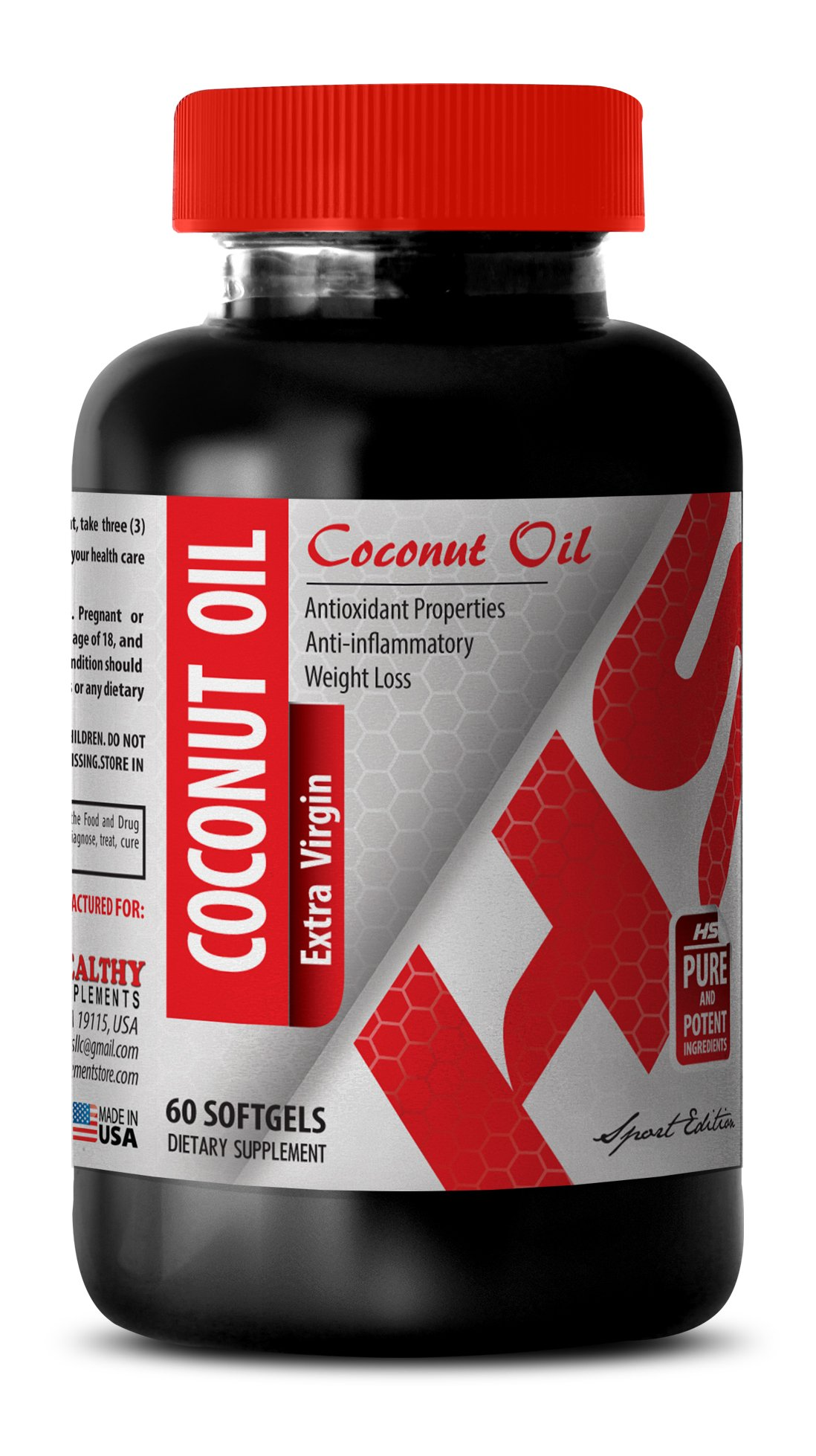 Coconut oil in pills - PURIFIED COCONUT OIL EXTRA VIRGIN 3000 MG - for losing weight (1 Bottle)