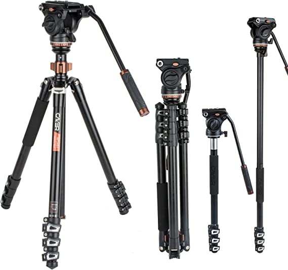 Cayer AF2451 Professional Video Camera Tripod 67 inches with Fluid Drag Head