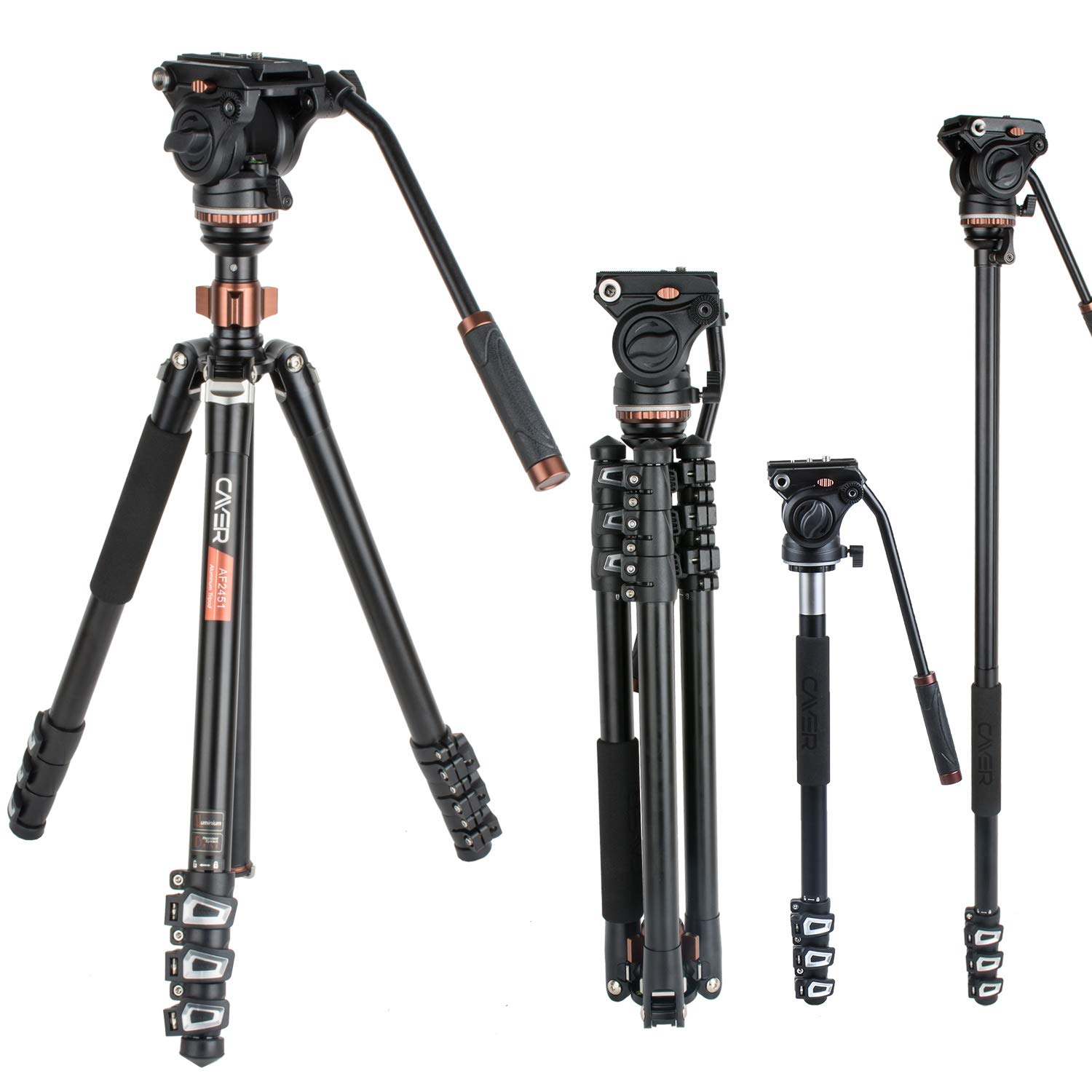 Cayer AF2451 Professional Video Camera Tripod 67 inches with Fluid Drag Head, 4-Section Compact Aluminimum DSLR Tripod Convertible to Monopod for DSLR Camera, Video Camcorder, Plus 1 Extra QR Plate