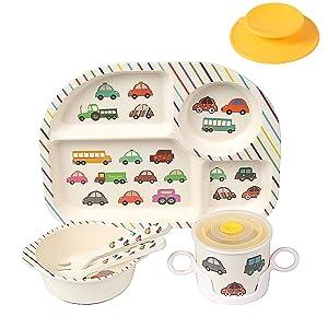 Shopwithgreen 5Pcs/Set Bamboo Kids Dinnerware Set - Children Dishes - Food Plate Bowl Cup Spoon Fork Set Dishware, Cartoon Tableware, Dishwasher Safe Kids Healthy Mealtime, BPA Free (Car)