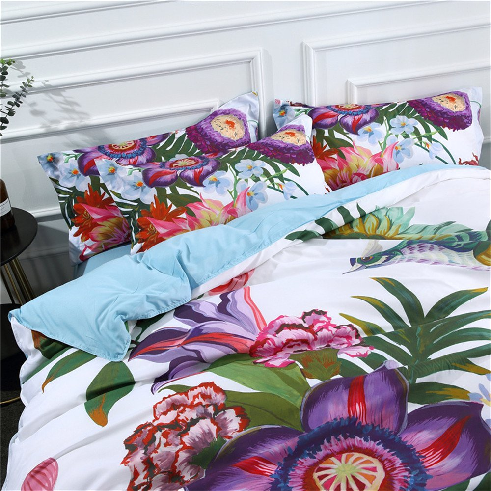 Color 1,King-3PC EsyDream Peacock 3D Duvet Cover Set 3//4-Piece,Chinese Bohemian Style Peacock Bedding Sheets Set Twin Queen King Size 3D Beautiful Peacock Bedlinen No Comforters