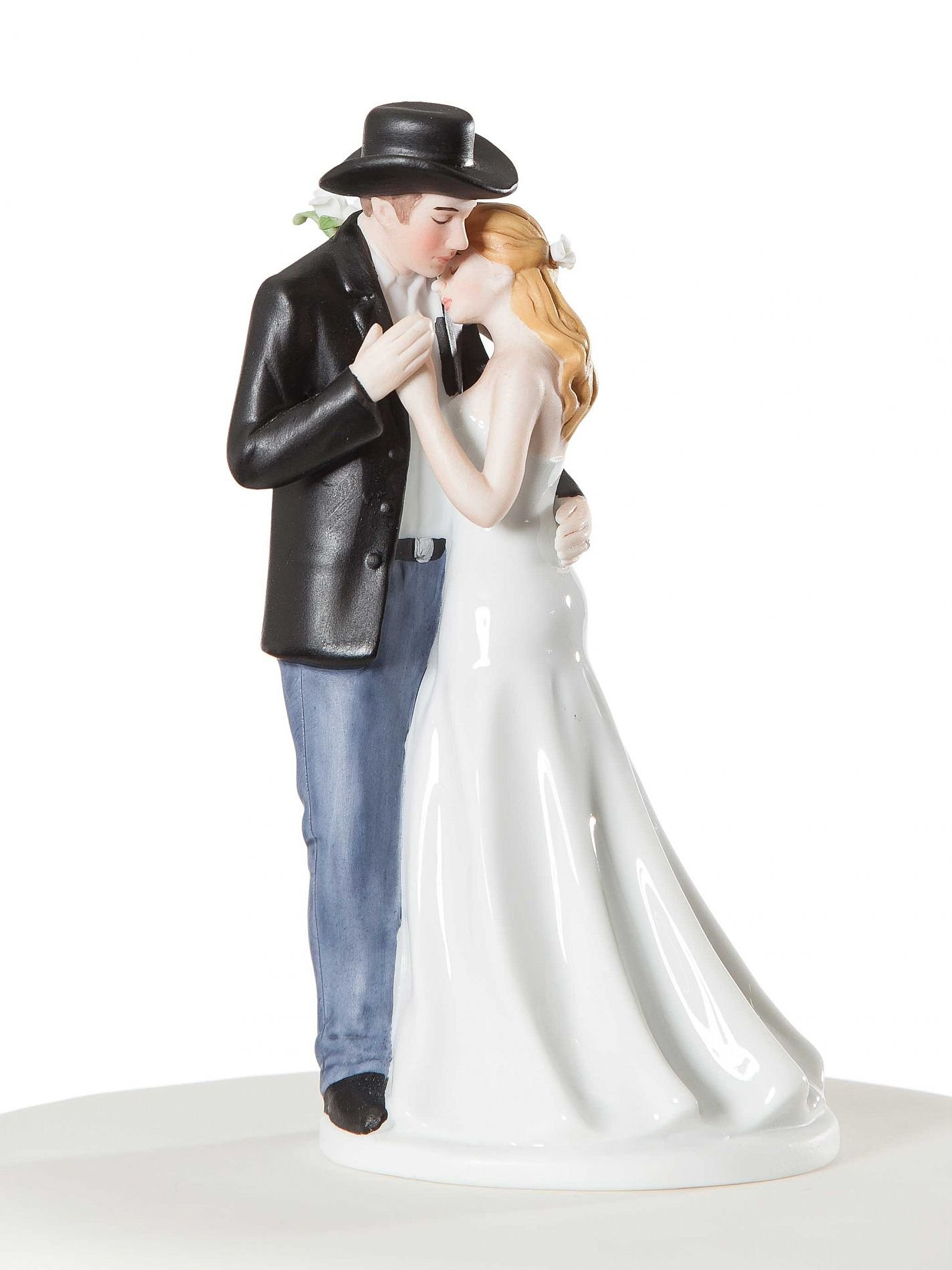 Wedding Collectibles Personalized Old Fashion Lovin Western Wedding Cake Topper: Bride Hair: BROWN - Groom Hair: BROWN