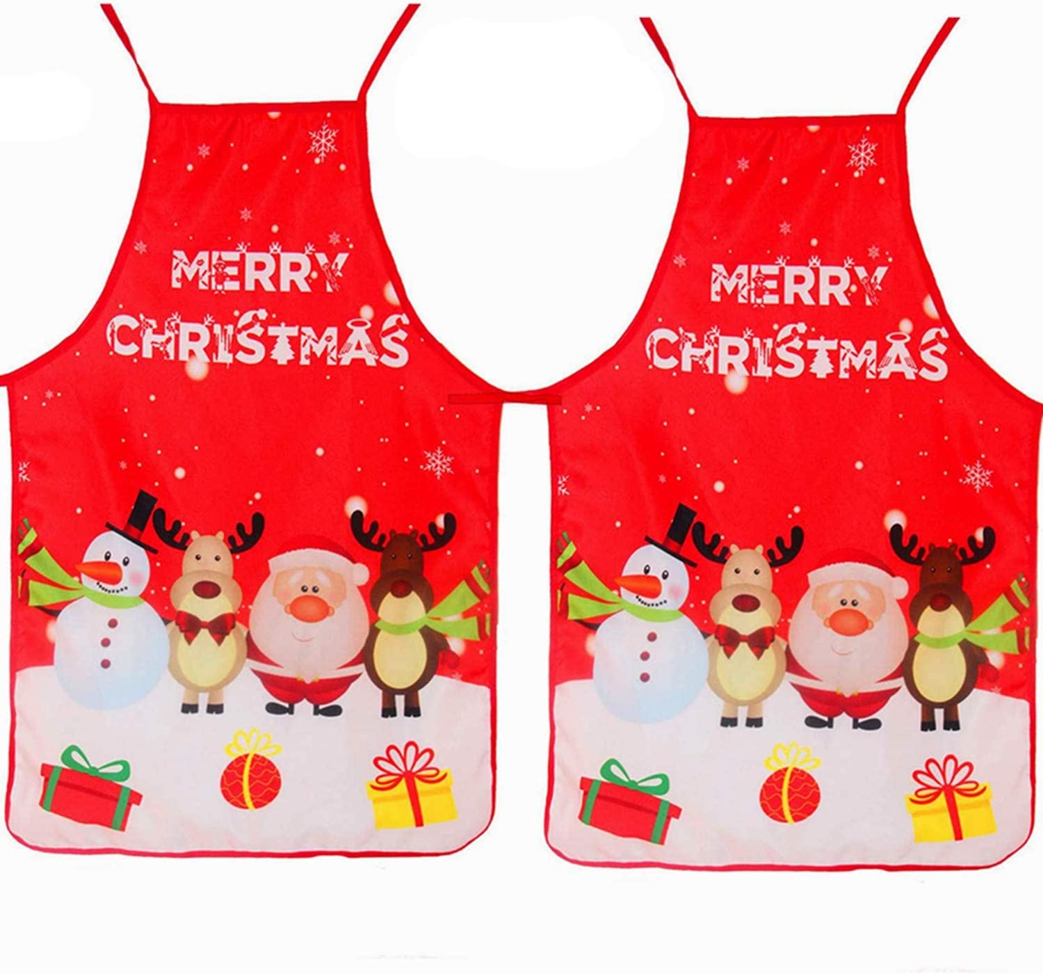 Sweetfamily 2 Pcs Christmas Apron Decorated Clothes for Hostess Christmas Dinner Cooking Kitchen Barbecue Baking Crafting Apron