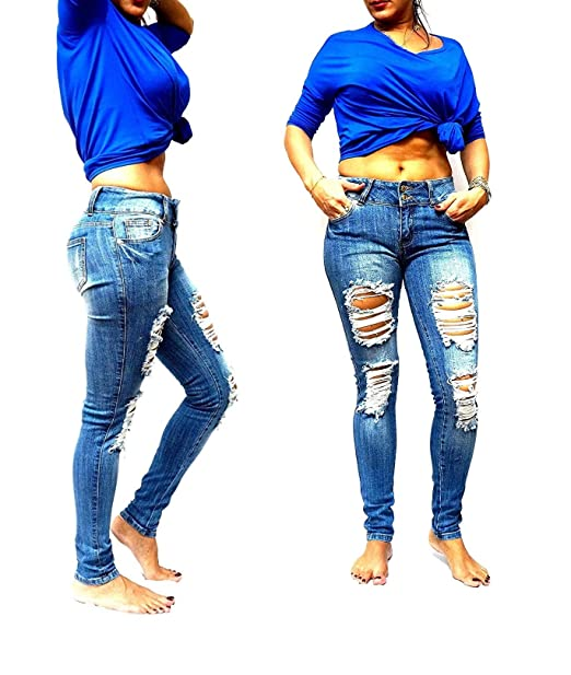 bced894f731b Machine Jeans Dark WASH Juniors Womens Ripped Distressed SkinnyFaded Denim  Jean (1)