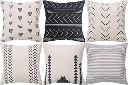 Amazon.com: DEZENE Throw Pillow Covers for Couch,6 Pack,Natural ...