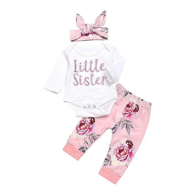 f947f38c0433 3PCs Newborn Infant Baby Girls Outfit Little Sister Romper Floral Print  Pants Headband Clothes Set (
