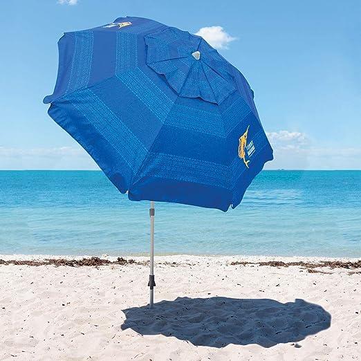 Tommy Bahama sombrilla de Playa colección 2019 Modelo Azul. con Anclaje para Arena: Amazon.es: Jardín