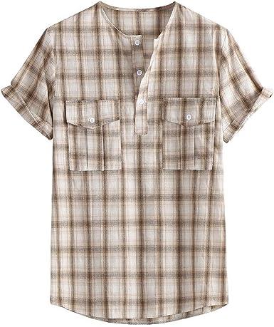 Amasells Camisas Informales con Estampado a Rayas para Hombre ...