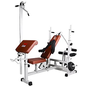Trainhard Universal Training Bench, Gym Station, Weight Bench, Brown / White