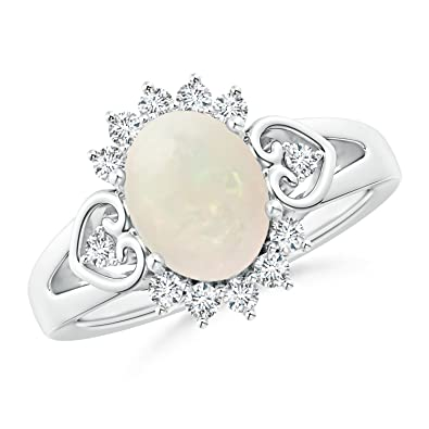 Angara Vintage Oval Opal Ring in Platinum - October Birthstone Ring