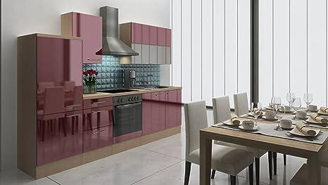 respekta Premium Cocina 280 cm Acacia Burdeos Brillante Nevera congelador Combinado 144 cm vitrocerámica