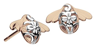 Kit Heath Sterling Silver and 18ct Gold Plate Blossom Bumblebee Stud Earrings 99k4XXs