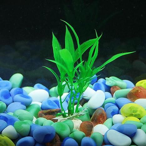 hunpta 10 hojas de bambú para acuario con escena de peces (verde)